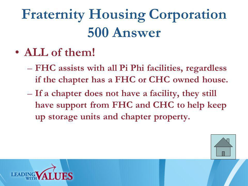 Fraternity Housing Corporation 500 Answer ALL of them.