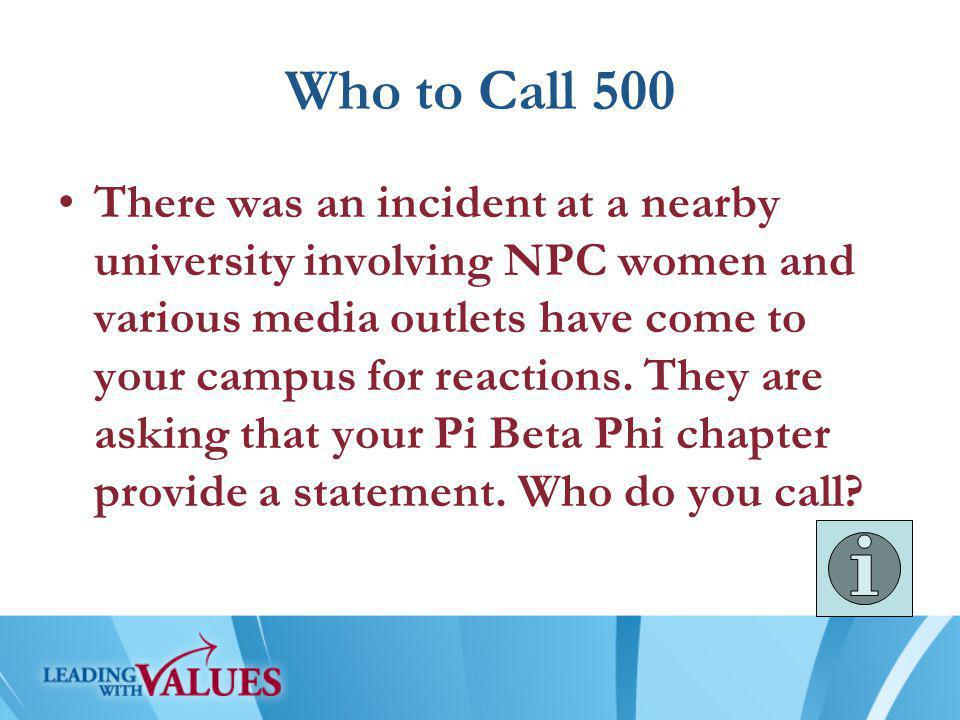 Who to Call 500 There was an incident at a nearby university involving NPC women and various media outlets have come to your campus for reactions.