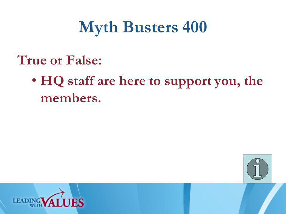 Myth Busters 500 True or False: Another term for HQ is Nationals.