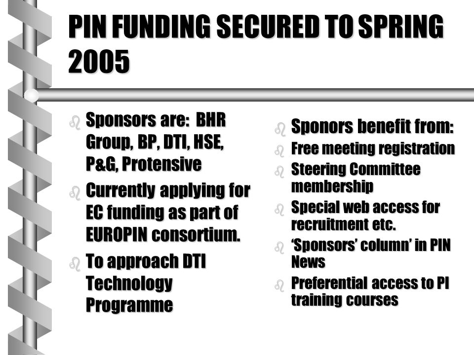 PIN FUNDING SECURED TO SPRING 2005 b Sponsors are: BHR Group, BP, DTI, HSE, P&G, Protensive b Currently applying for EC funding as part of EUROPIN con