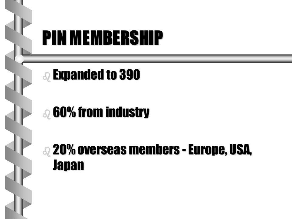 PIN MEMBERSHIP b Expanded to 390 b 60% from industry b 20% overseas members - Europe, USA, Japan