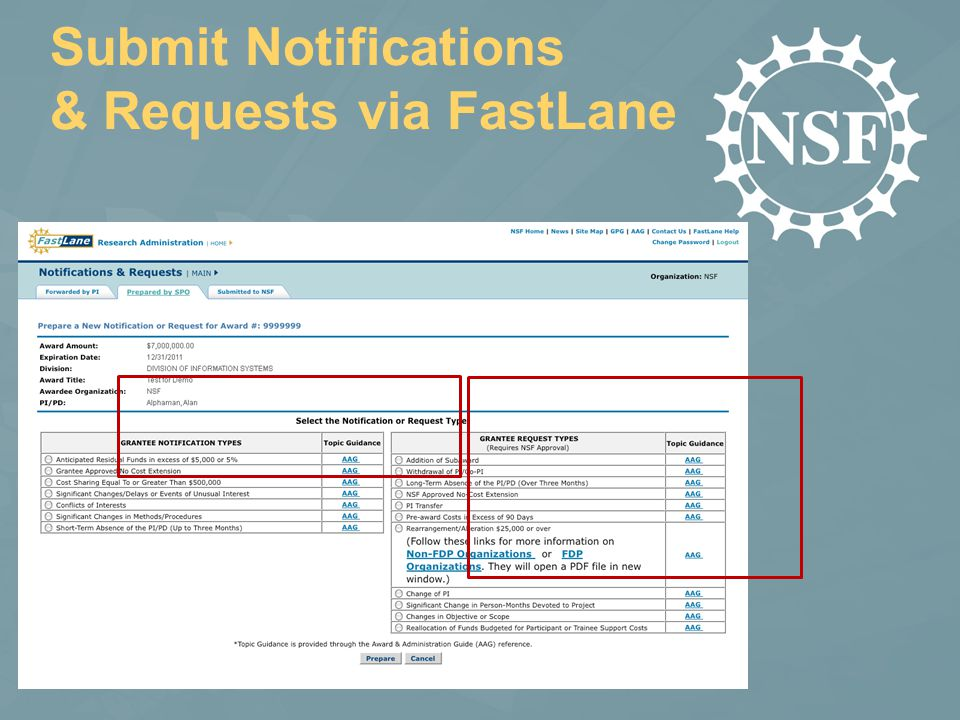 Submit Notifications & Requests via FastLane