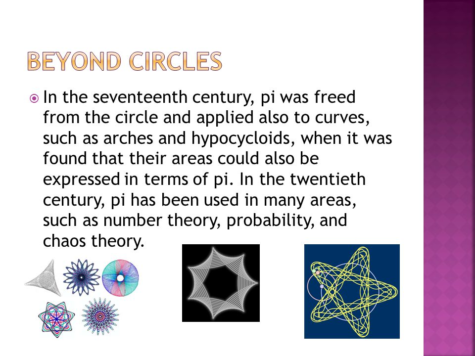  In the seventeenth century, pi was freed from the circle and applied also to curves, such as arches and hypocycloids, when it was found that their a
