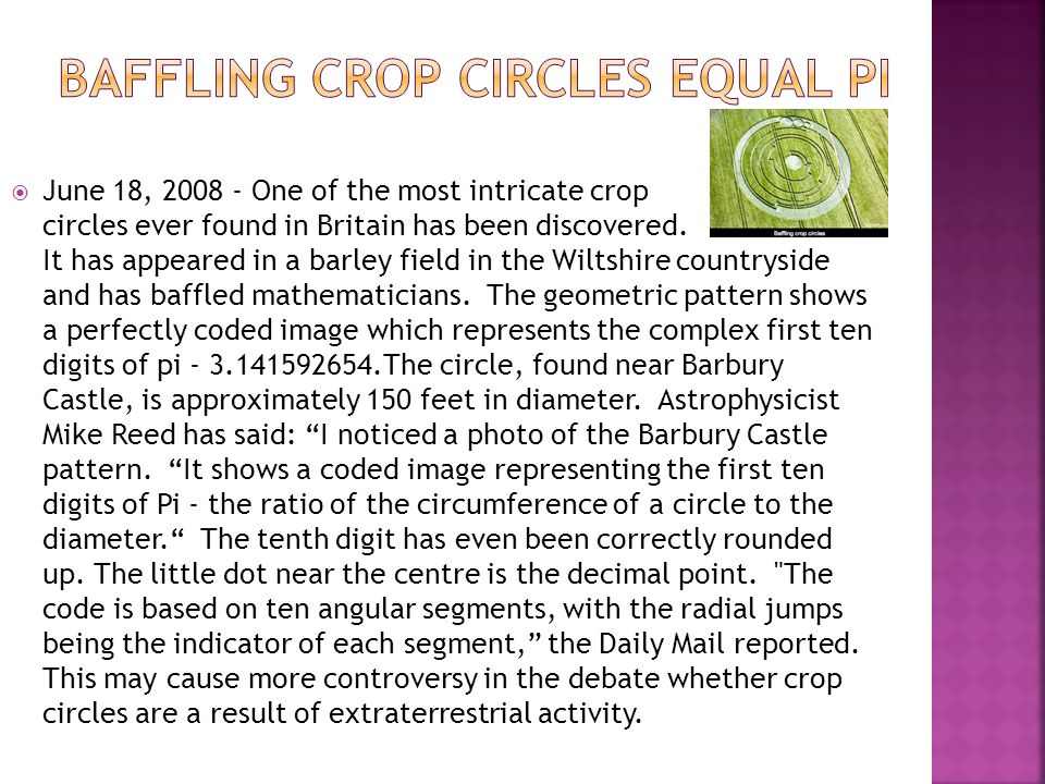  June 18, 2008 - One of the most intricate crop circles ever found in Britain has been discovered. It has appeared in a barley field in the Wiltshire