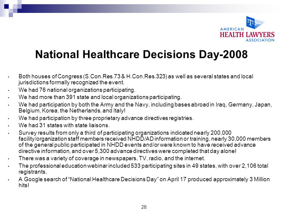 28 National Healthcare Decisions Day-2008 Both houses of Congress (S.Con.Res.73 & H.Con.Res.323) as well as several states and local jurisdictions for