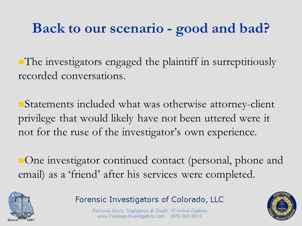 Back to our scenario - good and bad.