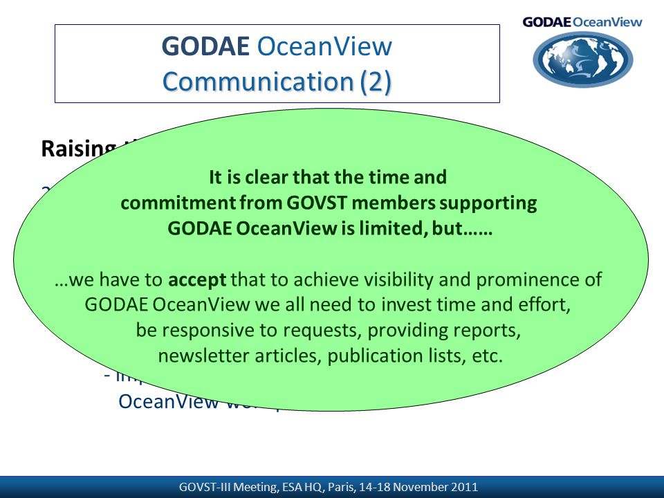 GOVST-III Meeting, ESA HQ, Paris, 14-18 November 2011 GODAE OceanView Communication (2) Raising the profile of GODAE OceanView 2.