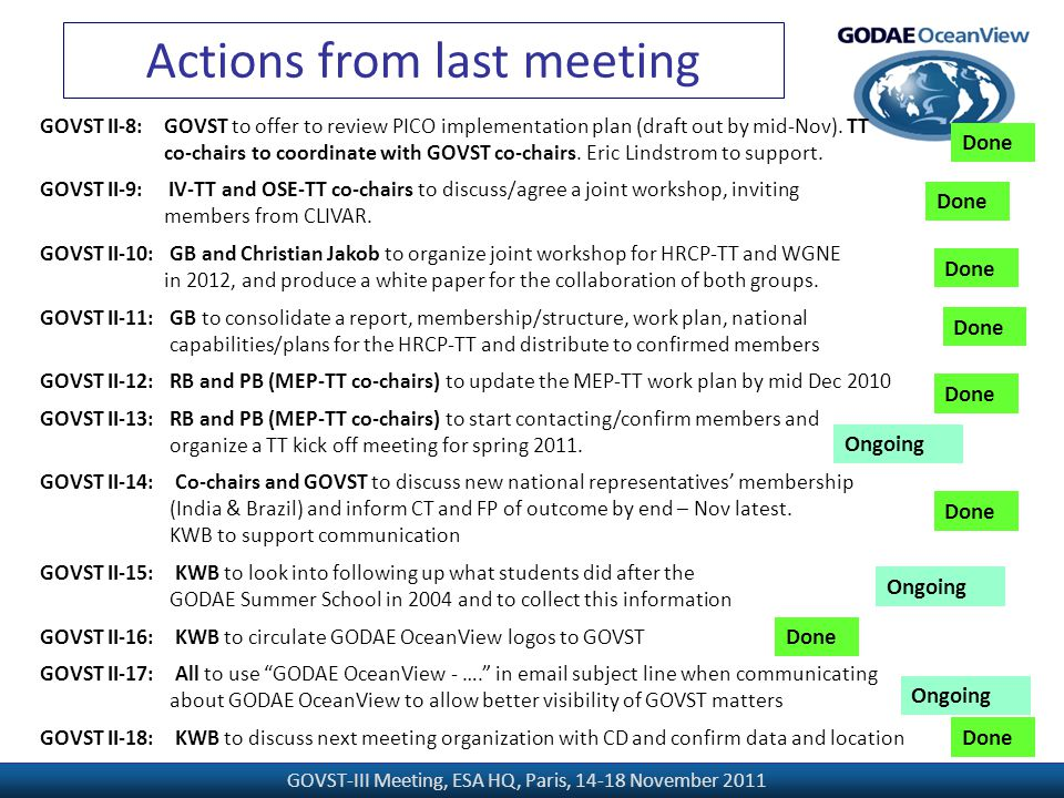 GOVST-III Meeting, ESA HQ, Paris, 14-18 November 2011 Actions from last meeting GOVST II-8: GOVST to offer to review PICO implementation plan (draft out by mid-Nov).