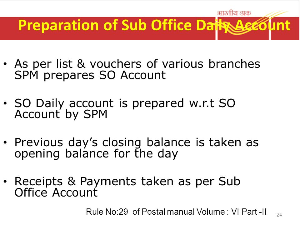 24 Preparation of Sub Office Daily Account As per list & vouchers of various branches SPM prepares SO Account SO Daily account is prepared w.r.t SO Ac
