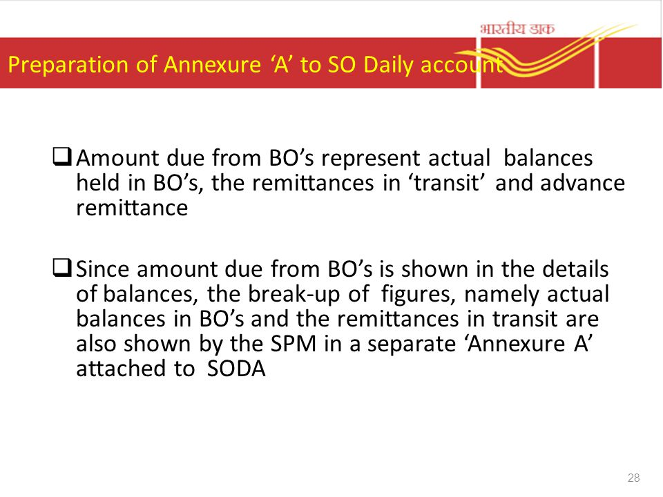 Preparation of Annexure 'A' to SO Daily account  Amount due from BO's represent actual balances held in BO's, the remittances in 'transit' and advanc