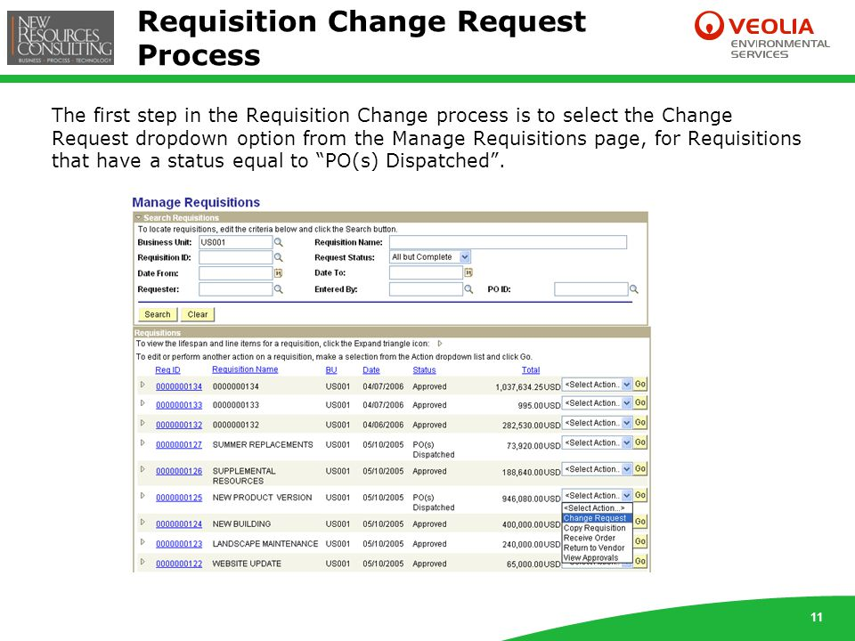 11 Requisition Change Request Process The first step in the Requisition Change process is to select the Change Request dropdown option from the Manage Requisitions page, for Requisitions that have a status equal to PO(s) Dispatched .