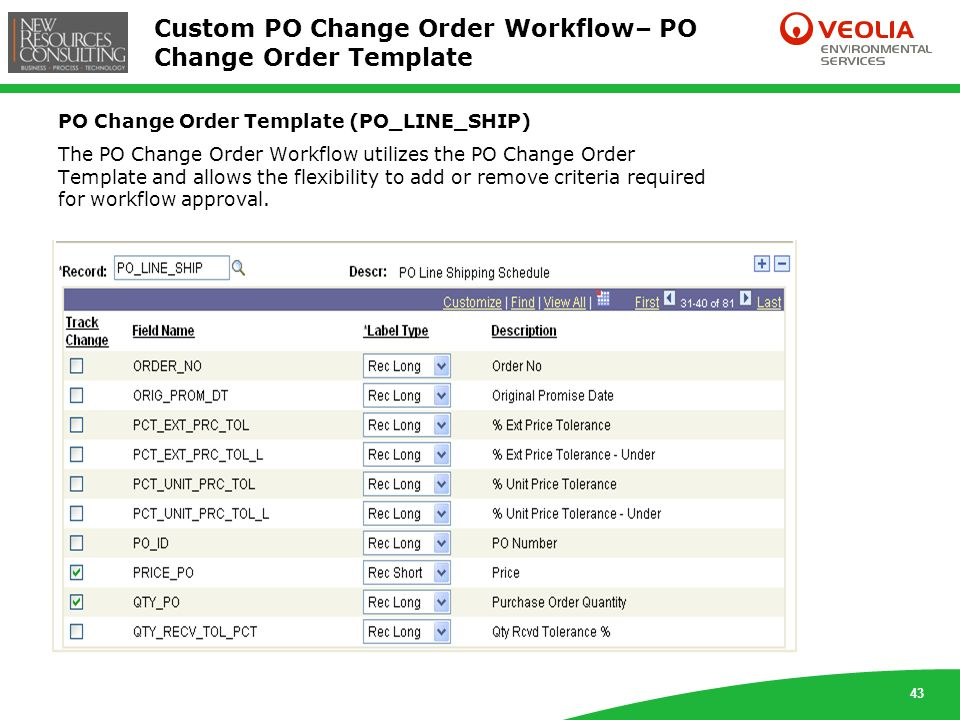 43 Custom PO Change Order Workflow– PO Change Order Template PO Change Order Template (PO_LINE_SHIP) The PO Change Order Workflow utilizes the PO Change Order Template and allows the flexibility to add or remove criteria required for workflow approval.