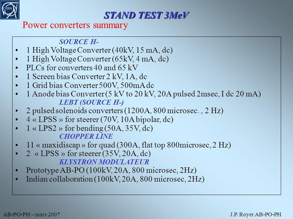 AB-PO-PH – mars 2007J.P. Royer AB-PO-PH SOURCE H- 1 High Voltage Converter (40kV, 15 mA, dc) 1 High Voltage Converter (65kV, 4 mA, dc) PLCs for conver
