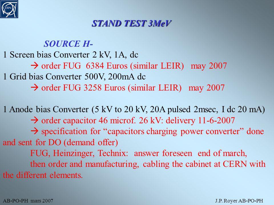 AB-PO-PH mars 2007J.P. Royer AB-PO-PH STAND TEST 3MeV SOURCE H- 1 Screen bias Converter 2 kV, 1A, dc  order FUG 6384 Euros (similar LEIR) may 2007 1