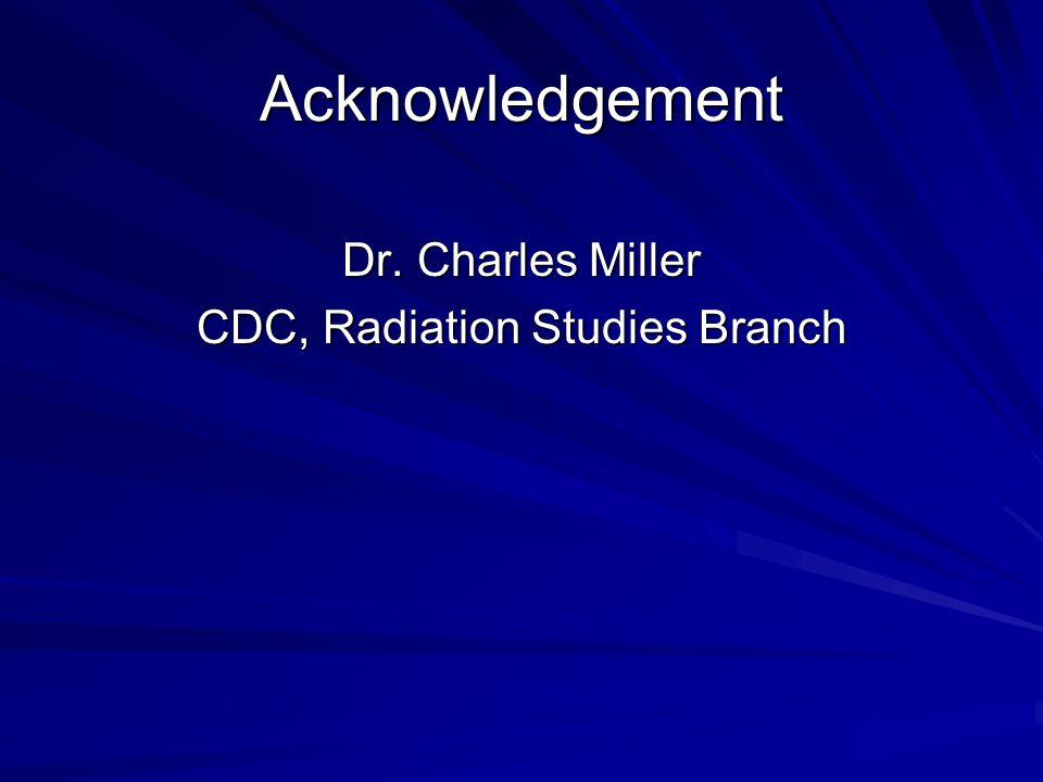 Acknowledgement Dr. Charles Miller CDC, Radiation Studies Branch