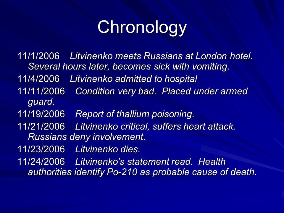 Chronology 11/1/2006 Litvinenko meets Russians at London hotel.