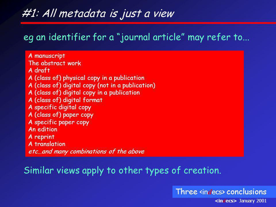#1: All metadata is just a view eg an identifier for a journal article may refer to...