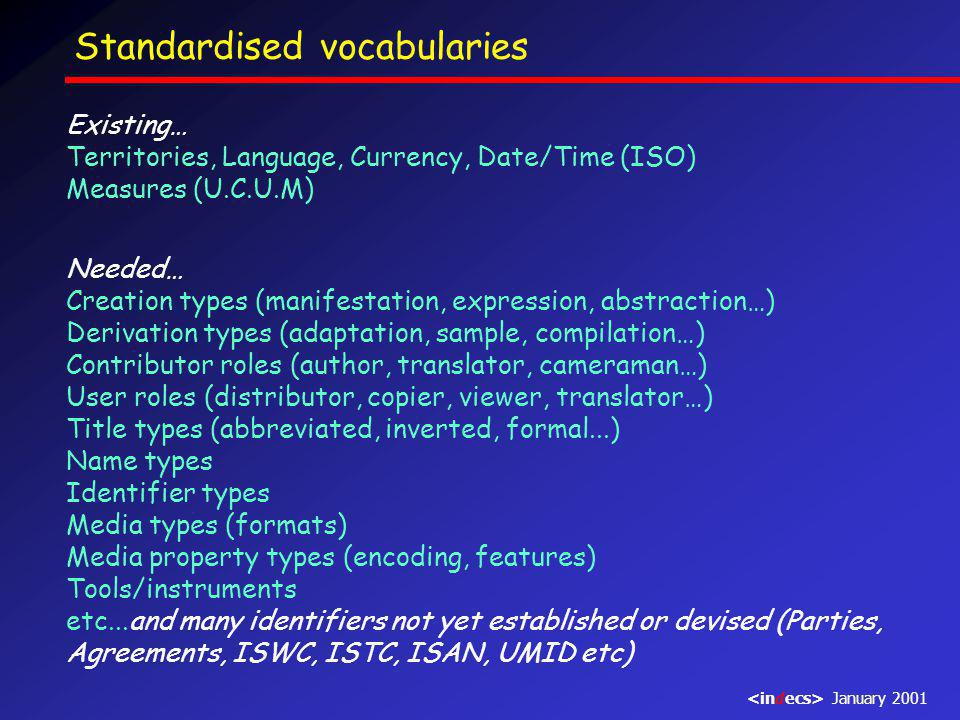 Standardised vocabularies Existing… Territories, Language, Currency, Date/Time (ISO) Measures (U.C.U.M) Needed… Creation types (manifestation, expression, abstraction…) Derivation types (adaptation, sample, compilation…) Contributor roles (author, translator, cameraman…) User roles (distributor, copier, viewer, translator…) Title types (abbreviated, inverted, formal...) Name types Identifier types Media types (formats) Media property types (encoding, features) Tools/instruments etc...and many identifiers not yet established or devised (Parties, Agreements, ISWC, ISTC, ISAN, UMID etc) January 2001