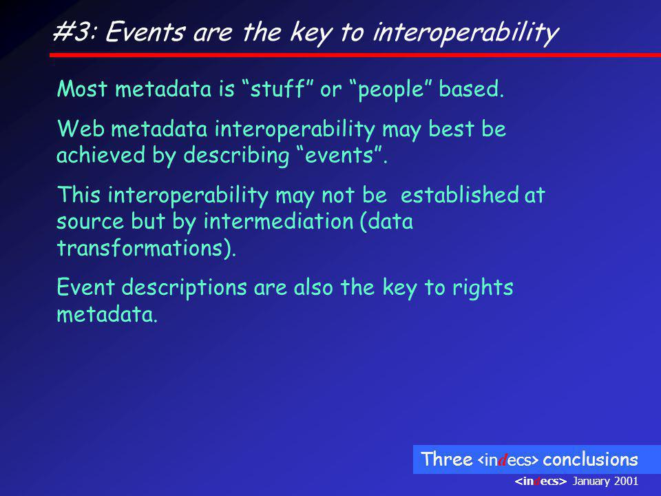 #3: Events are the key to interoperability Most metadata is stuff or people based.