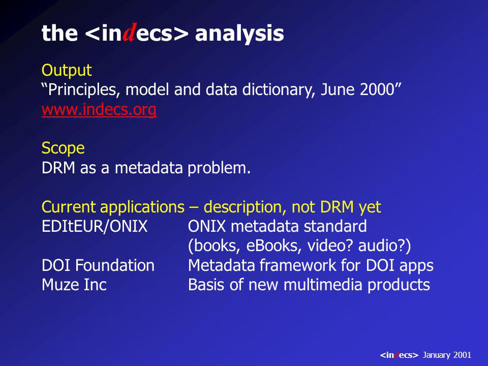 the analysis Output Principles, model and data dictionary, June 2000 www.indecs.org Scope DRM as a metadata problem.
