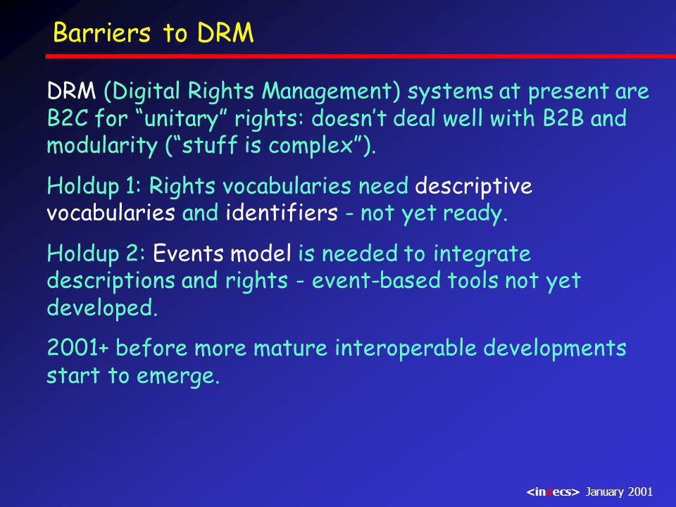 Barriers to DRM DRM (Digital Rights Management) systems at present are B2C for unitary rights: doesn't deal well with B2B and modularity ( stuff is complex ).