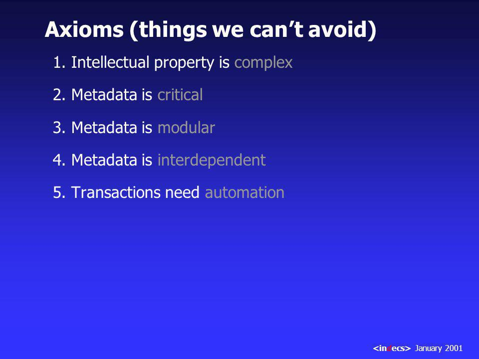 1. Intellectual property is complex 2. Metadata is critical 3.