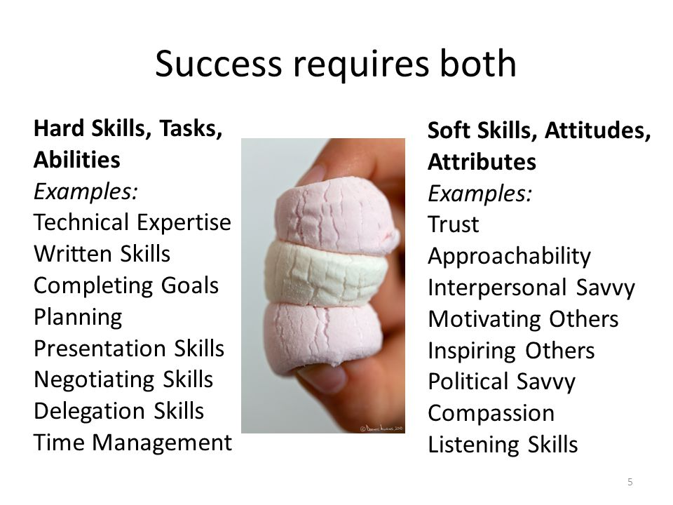 Success requires both 5 Hard Skills, Tasks, Abilities Examples: Technical Expertise Written Skills Completing Goals Planning Presentation Skills Negot