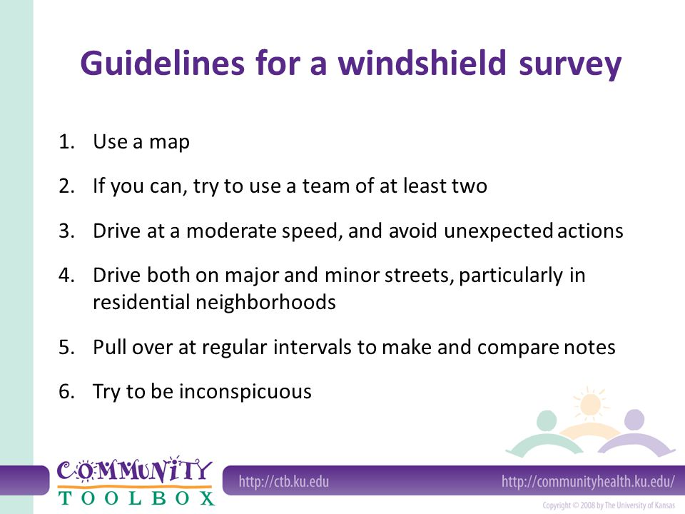 1.Use a map 2.If you can, try to use a team of at least two 3.Drive at a moderate speed, and avoid unexpected actions 4.Drive both on major and minor