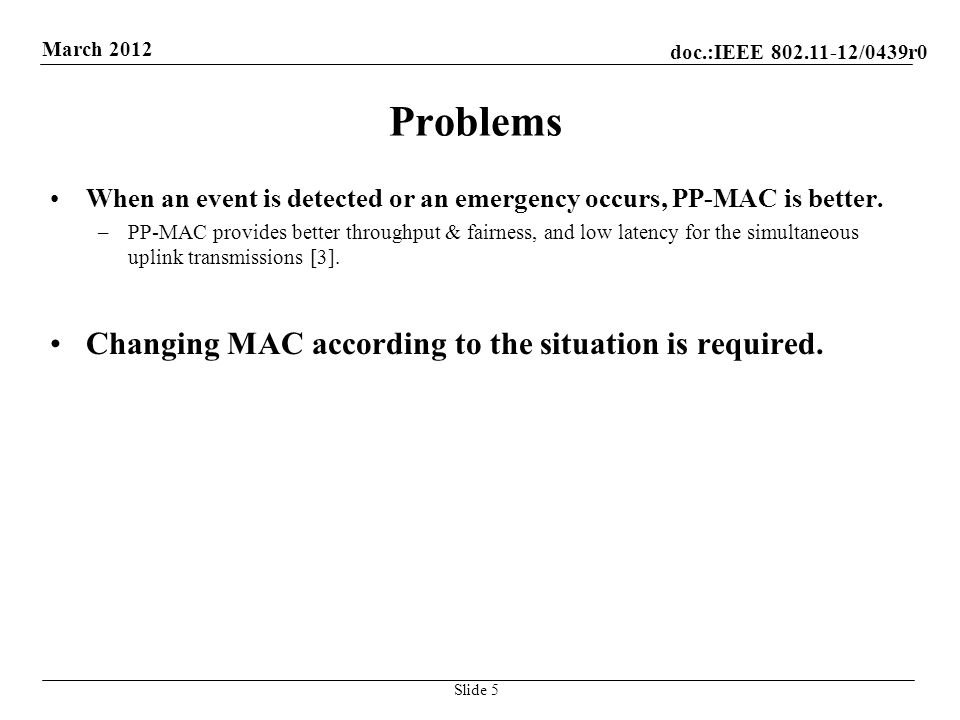 doc.:IEEE /0439r0 March 2012 Problems When an event is detected or an emergency occurs, PP-MAC is better.