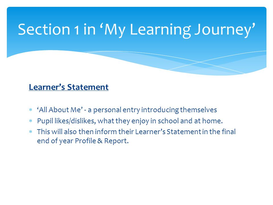 Learner's Statement  'All About Me' - a personal entry introducing themselves  Pupil likes/dislikes, what they enjoy in school and at home.