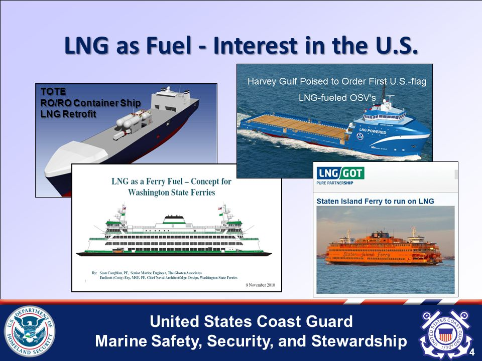 United States Coast Guard Marine Safety, Security, and Stewardship Gaps in Existing Regulations The Current Regulations Do Not address: Design and construction of LNG fuel systems.