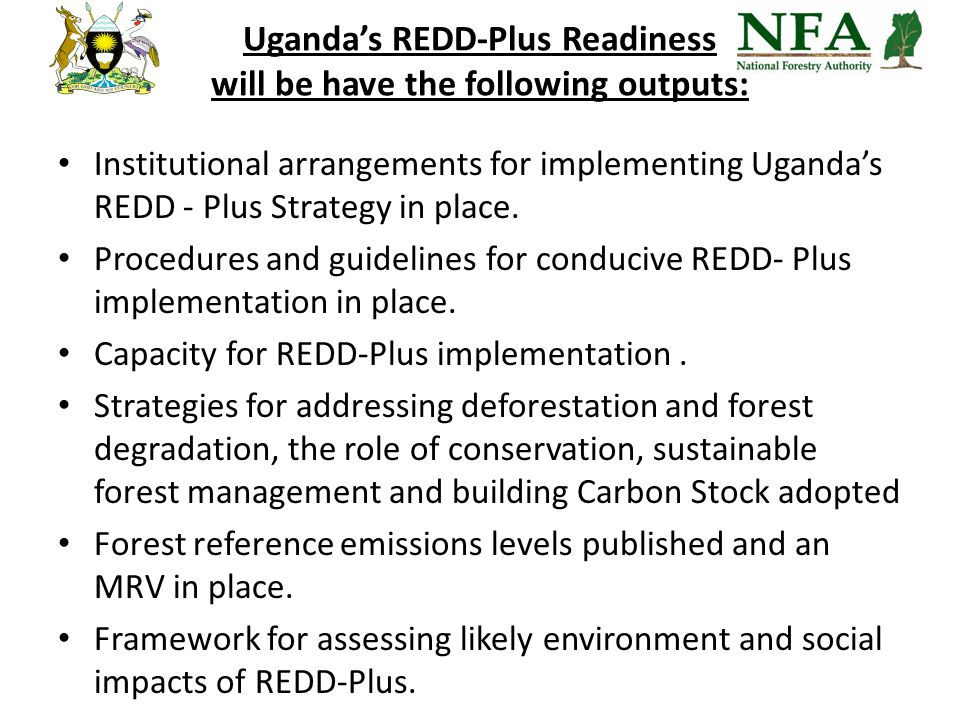 Uganda's REDD-Plus Readiness will be have the following outputs: Institutional arrangements for implementing Uganda's REDD - Plus Strategy in place.