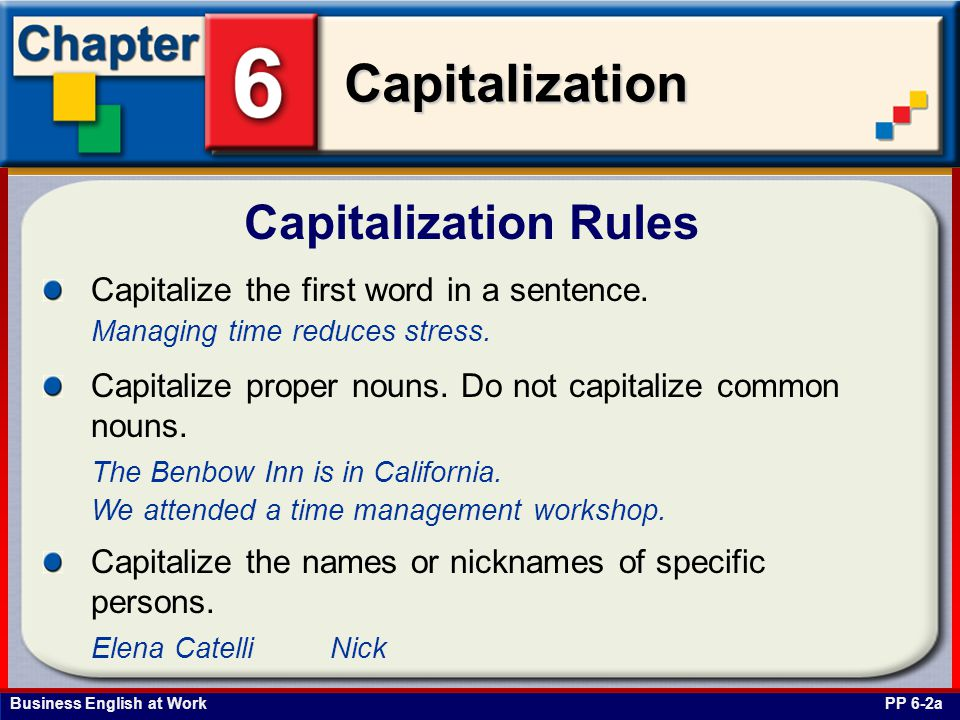 Business English at Work Capitalization Acts, Bills, and Laws Capitalize specific titles of laws, acts, codes, and amendments.