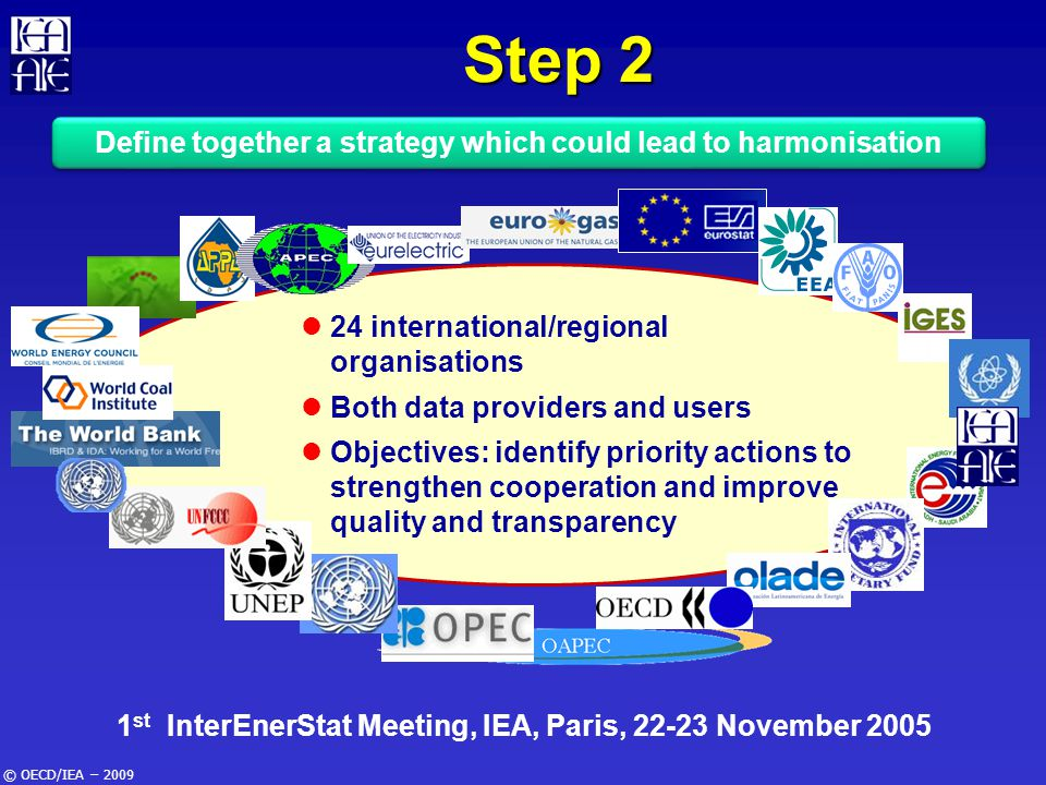© OECD/IEA – 2009 24 international/regional organisations Both data providers and users Objectives: identify priority actions to strengthen cooperatio