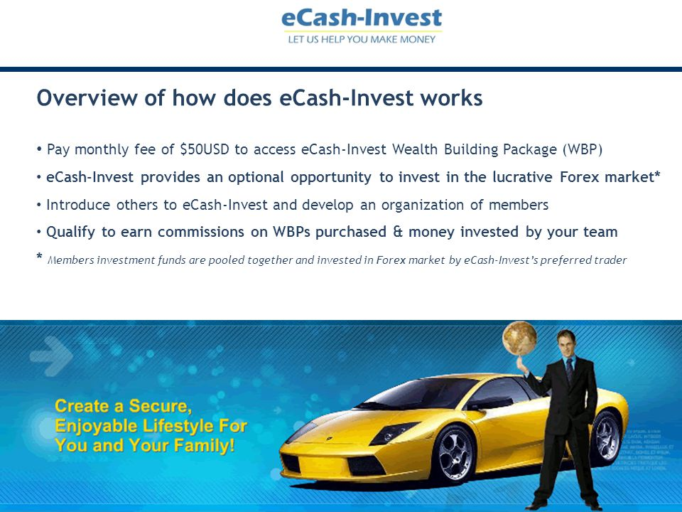 Overview of how does eCash-Invest works Pay monthly fee of $50USD to access eCash-Invest Wealth Building Package (WBP) eCash-Invest provides an option
