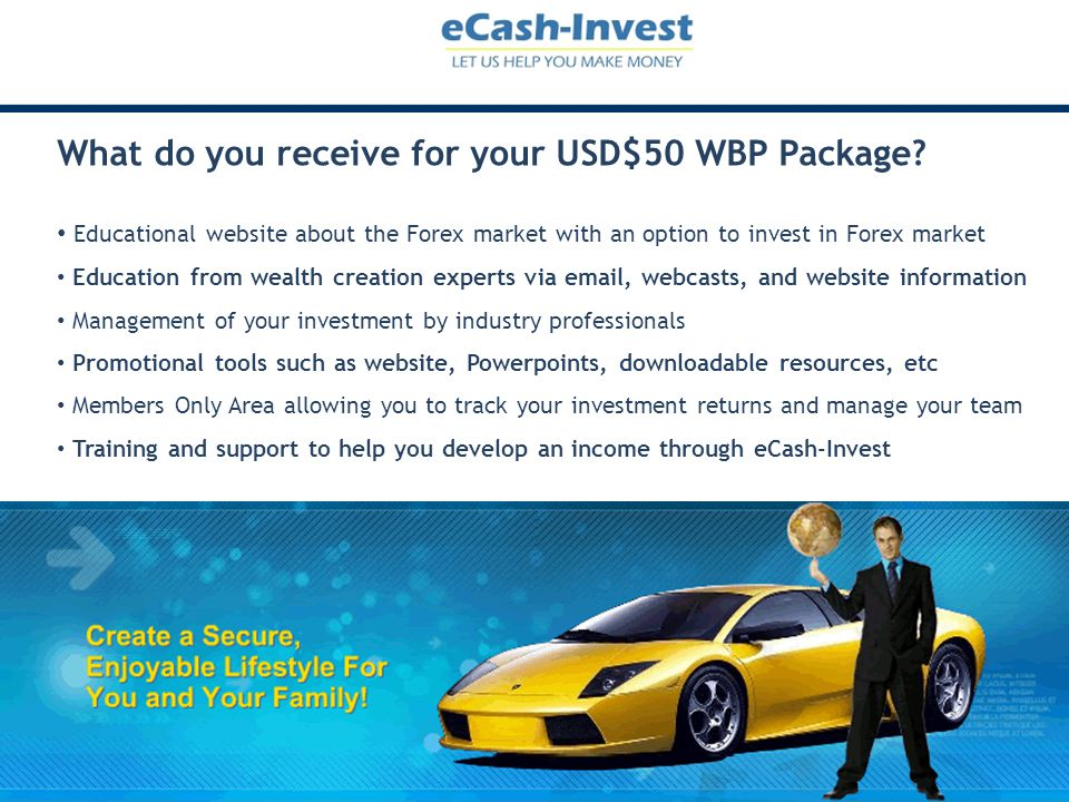 Program provides incentive for members to invest Invest $100 - $999 to earn ROI paid to investor Invest $1,000 or more to earn on ROI earned by investments from team you build Invest more than $10,000 and earn maximum ROI on amount above $10,000 More money invested in fund, greater the opportunity to earn maximum ROI for members The more money invested the greater the income potential for $1,000 investors More money invested the larger the Leadership Pool to fund holidays and car incentives