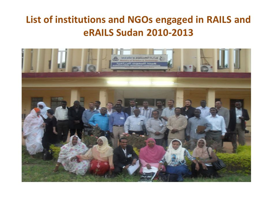 List of institutions and NGOs engaged in RAILS and eRAILS Sudan 2010-2013