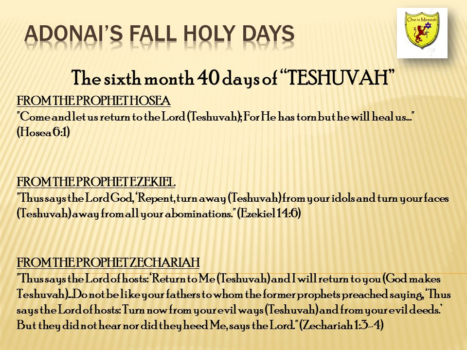 The sixth month 40 days of TESHUVAH FROM THE PROPHET HOSEA Come and let us return to the Lord (Teshuvah); For He has torn but he will heal us... (Hosea 6:1) FROM THE PROPHET EZEKIEL Thus says the Lord God, 'Repent, turn away (Teshuvah) from your idols and turn your faces (Teshuvah) away from all your abominations. (Ezekiel 14:6) FROM THE PROPHET ZECHARIAH Thus says the Lord of hosts: 'Return to Me (Teshuvah) and I will return to you (God makes Teshuvah)...Do not be like your fathers to whom the former prophets preached saying, 'Thus says the Lord of hosts: Turn now from your evil ways (Teshuvah) and from your evil deeds.' But they did not hear nor did they heed Me, says the Lord. (Zechariah 1:3-4)
