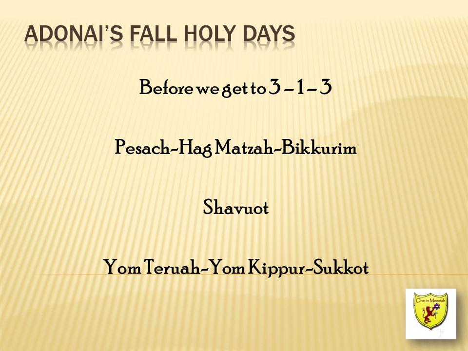 Before we get to 3 – 1 – 3 Pesach-Hag Matzah-Bikkurim Shavuot Yom Teruah-Yom Kippur-Sukkot