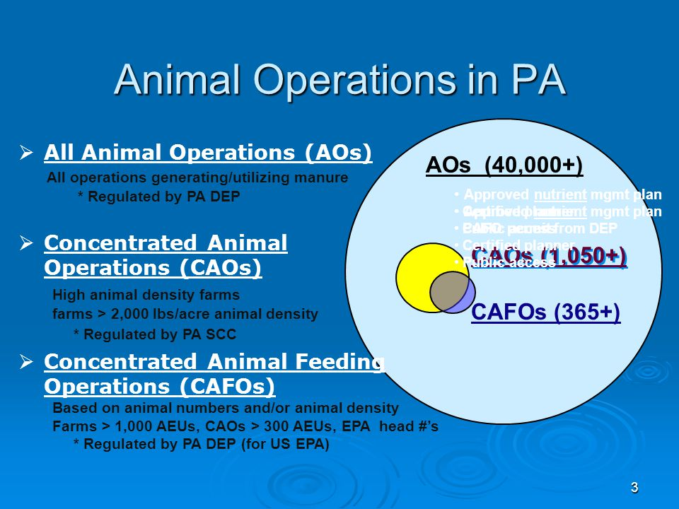 3 Animal Operations in PA CAFOs (365+)  All Animal Operations (AOs) All operations generating/utilizing manure * Regulated by PA DEP  Concentrated Animal Operations (CAOs) High animal density farms farms > 2,000 lbs/acre animal density * Regulated by PA SCC  Concentrated Animal Feeding Operations (CAFOs) Based on animal numbers and/or animal density Farms > 1,000 AEUs, CAOs > 300 AEUs, EPA head #'s * Regulated by PA DEP (for US EPA) CAOs (1,050+) AOs (40,000+) Approved nutrient mgmt plan CAFO permit from DEP Certified planner Public access Approved nutrient mgmt plan Certified planner Public access