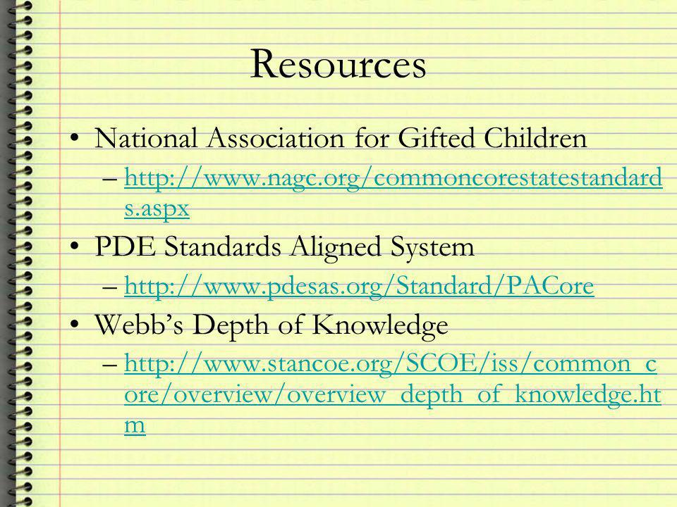 Resources National Association for Gifted Children –  s.aspxhttp://  s.aspx PDE Standards Aligned System –  Webb's Depth of Knowledge –  ore/overview/overview_depth_of_knowledge.ht mhttp://  ore/overview/overview_depth_of_knowledge.ht m