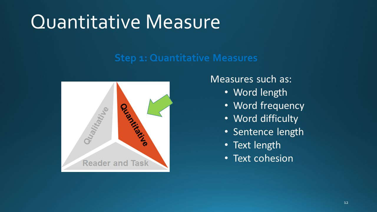 Measures such as: Word length Word frequency Word difficulty Sentence length Text length Text cohesion Step 1: Quantitative Measures Quantitative Meas