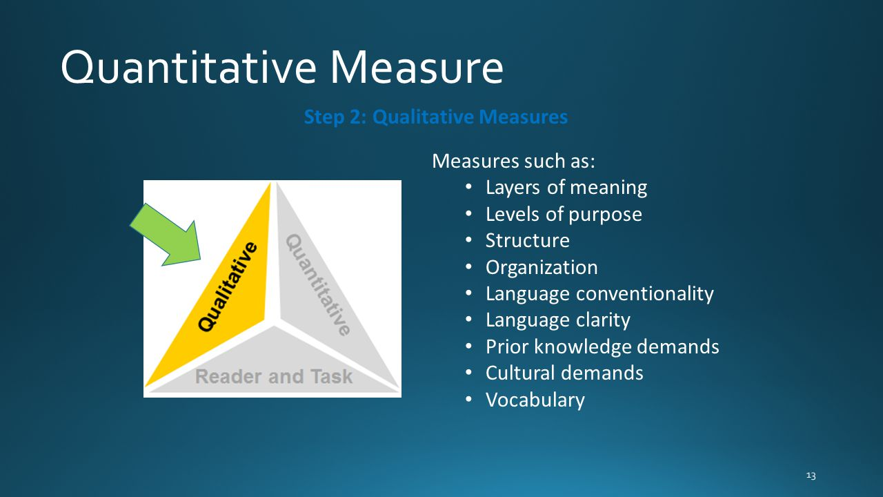 Step 2: Qualitative Measures Measures such as: Layers of meaning Levels of purpose Structure Organization Language conventionality Language clarity Pr