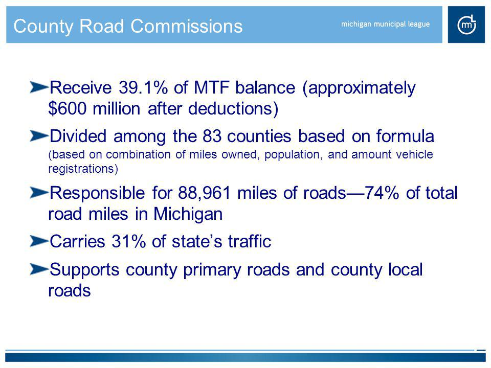 County Road Commissions Receive 39.1% of MTF balance (approximately $600 million after deductions) Divided among the 83 counties based on formula (bas