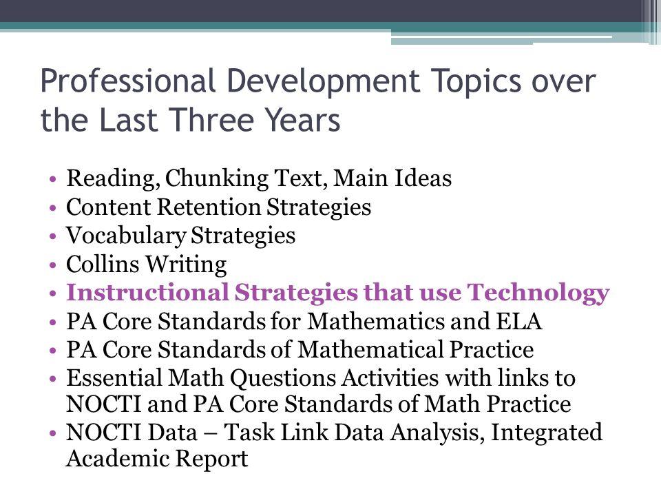 Professional Development Topics over the Last Three Years Reading, Chunking Text, Main Ideas Content Retention Strategies Vocabulary Strategies Collin