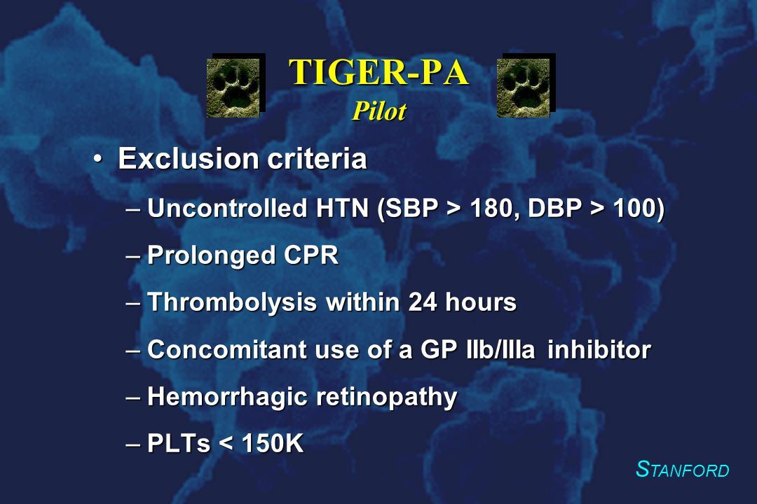 S TANFORD TIGER-PA Pilot Exclusion criteriaExclusion criteria –Uncontrolled HTN (SBP > 180, DBP > 100) –Prolonged CPR –Thrombolysis within 24 hours –Concomitant use of a GP IIb/IIIa inhibitor –Hemorrhagic retinopathy –PLTs < 150K