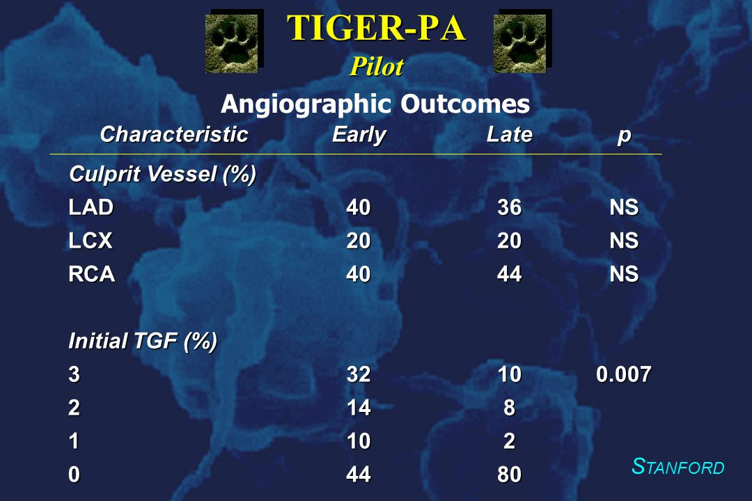 S TANFORD TIGER-PA Pilot CharacteristicEarlyLatep Culprit Vessel (%) LAD4036NS LCX2020NS RCA4044NS Initial TGF (%) 332100.007 2148 1102 04480 Angiographic Outcomes