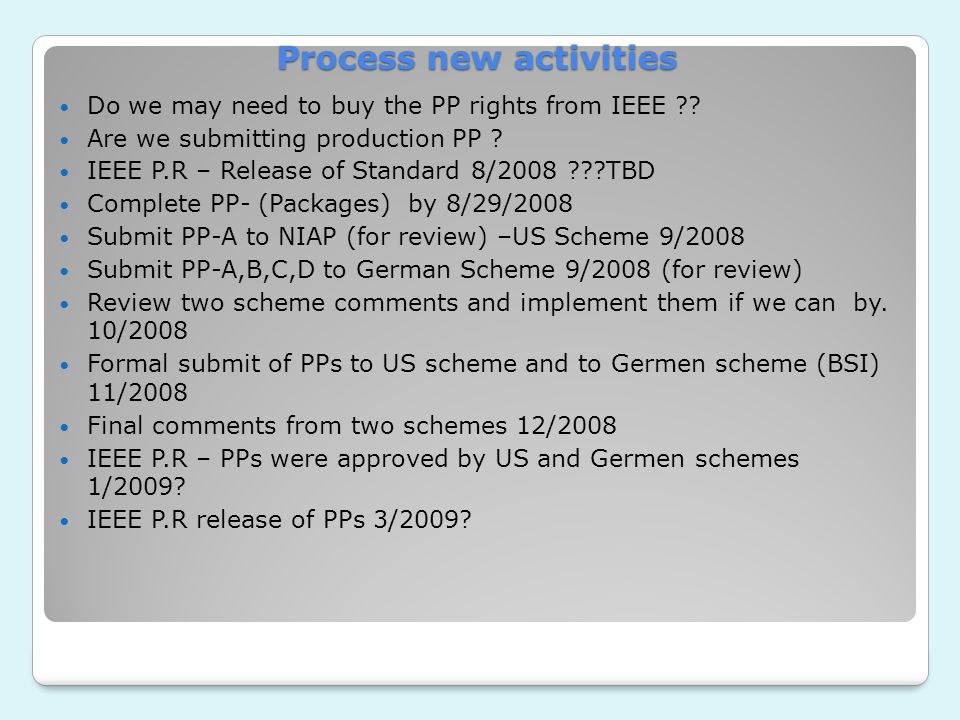 Process new activities Do we may need to buy the PP rights from IEEE .