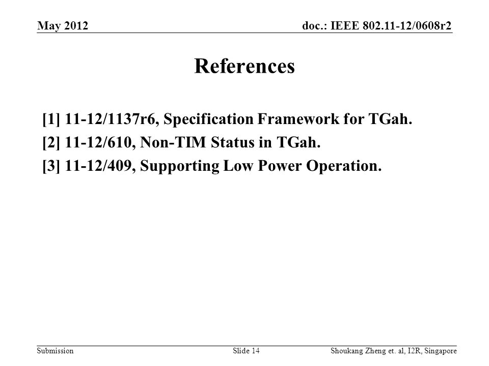 doc.: IEEE /0608r2 Submission May 2012 Slide 14 References [1] 11-12/1137r6, Specification Framework for TGah.