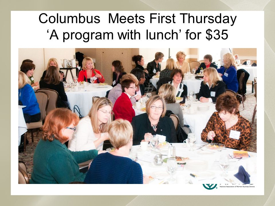 Columbus Meets First Thursday 'A program with lunch' for $35